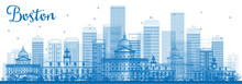Outline Boston Skyline With Blue Buildings.