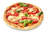 Margherita pizza garnished with fresh basil - 125882386