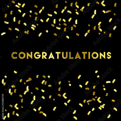 Fotografía  Congratulation lettering and gold confetti on black background