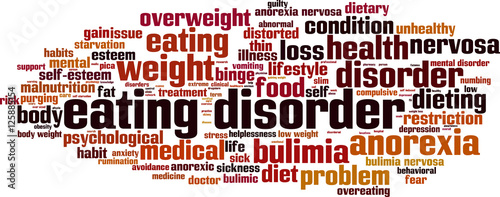 Photo Eating disorder word cloud concept. Vector illustration