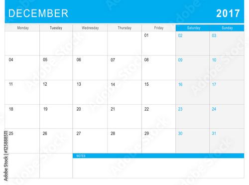 Fototapeta 2017 December calendar (or desk planner) with notes obraz na płótnie