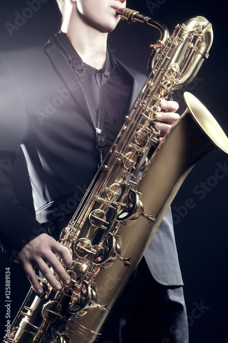 Saxophone Player Saxophonist Playing Sax baritone Wallpaper Mural