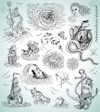 Design Collection With Sea Mythologycal Creatures, Ships, Mermaid And Symbols