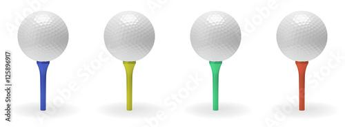 Poster Golf Golf ball on tee set
