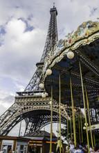 Paris Eiffel Tower With Ferris Wheel
