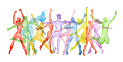 Watercolor dance set on white background. Dance poses. Healthy lifestyle, get...