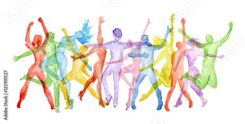 Watercolor dance set on white background. Dance poses. Healthy lifestyle, getting energy.
