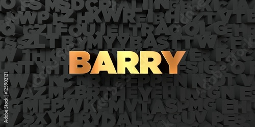 Barry - Gold text on black background - 3D rendered royalty free stock picture Wallpaper Mural
