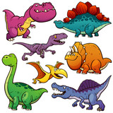 Fototapeta Dino - Vector illustration of Cartoon Dinosaur Character Set