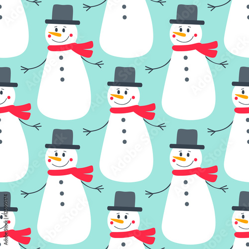 Cotton fabric Cute flat snowman. Vector seamless pattern with hand drawn holiday snowmens. Nice Christmas background for your design. On blue backdrop.