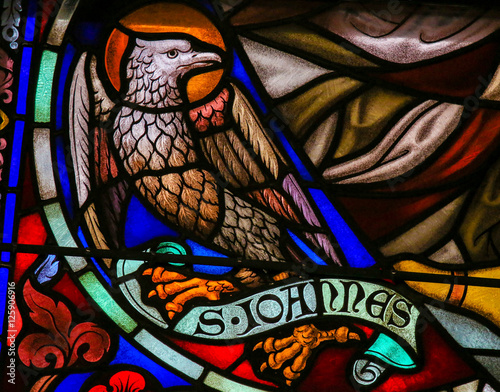 Obraz na plátně Stained Glass of the the Eagle - Saint John the Evangelist