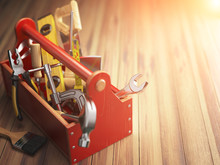 Support Service Concept. Toolbox With Tools On Wooden Background