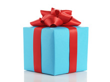 Blue Gift Box With Red Ribbon Bow Isolated On White