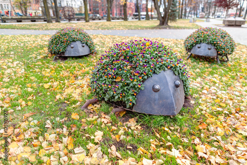 Staande foto Artistiek mon. Monument of three hedgehogs. Public park in Old Town district. Klaipeda, Lithuania.