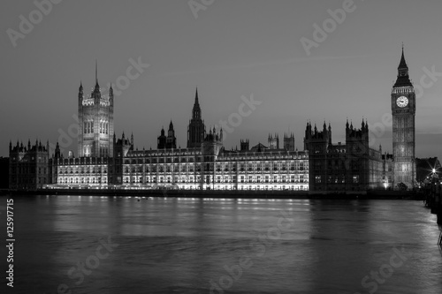 Big Ben with the Houses of Parliament at night. London, UK