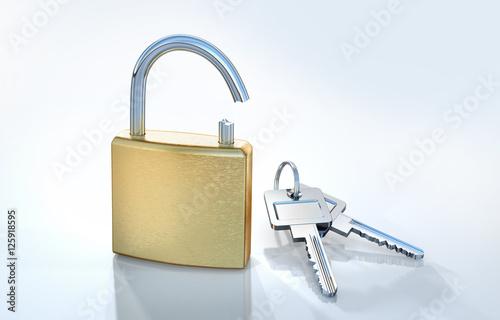Fotografie, Obraz  Aufgebrochenes Schloss mit Schlüsseln