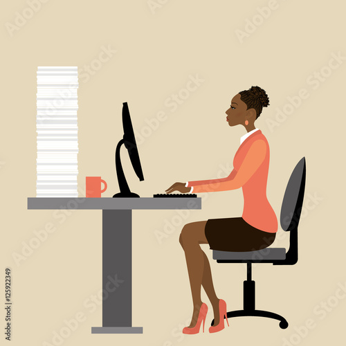 Valokuva  African american Office worker or businesswoman Working On lapto
