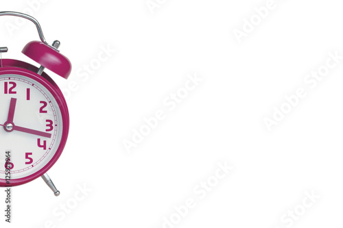 7916ab44dd8bfb A half past of pink retro alarm clock on white background - Buy this ...