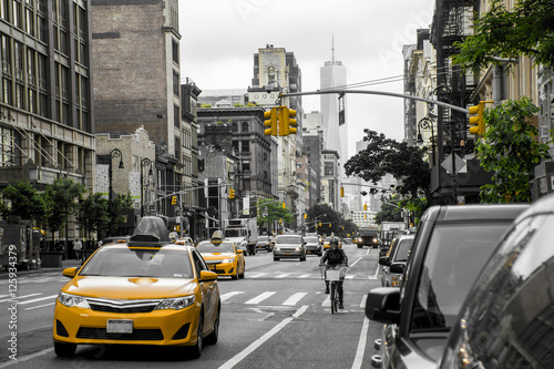 Staande foto New York TAXI New York City Taxi Streets USA Black white yellow