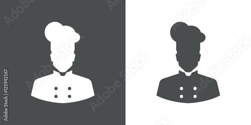 Fototapeta Icono plano silueta cocinero gris obraz