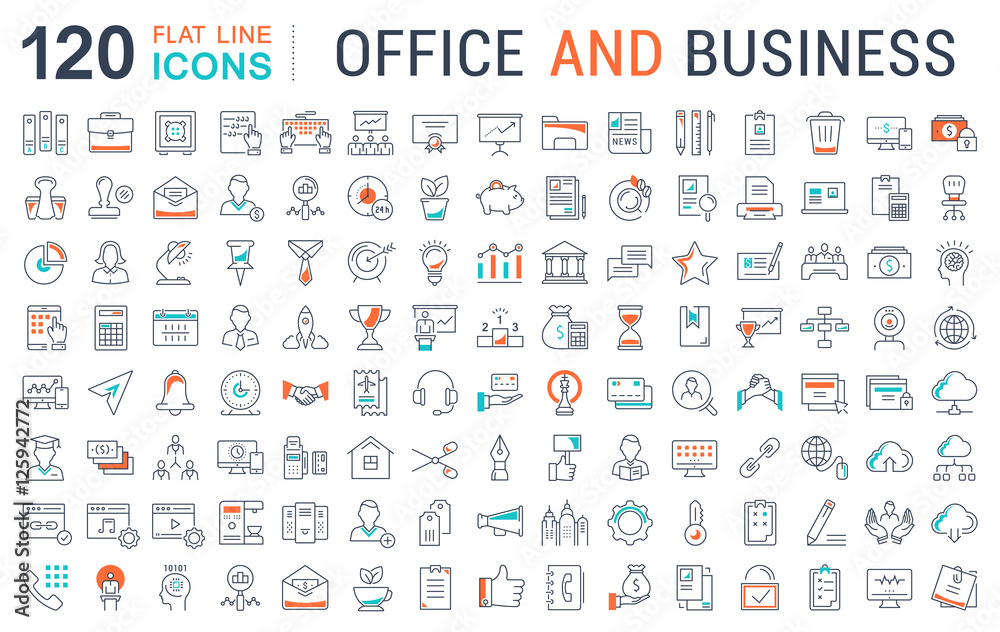 Fototapeta Set Vector Flat Line Icons Office and Business