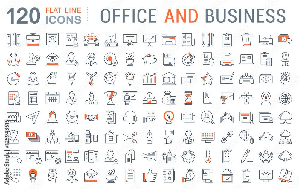 Fototapety, obrazy: Set Vector Flat Line Icons Office and Business