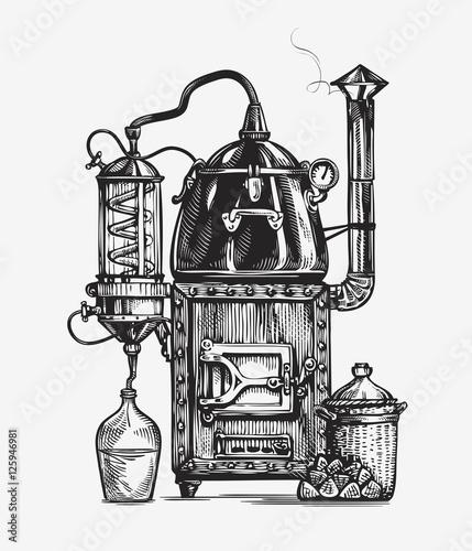 Distillation apparatus sketch. Hooch vector illustration Canvas-taulu