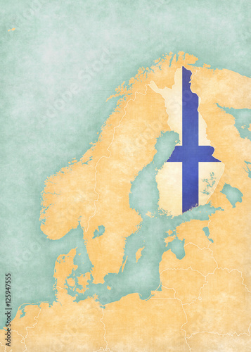 Fotografia  Map of Scandinavia - Finland