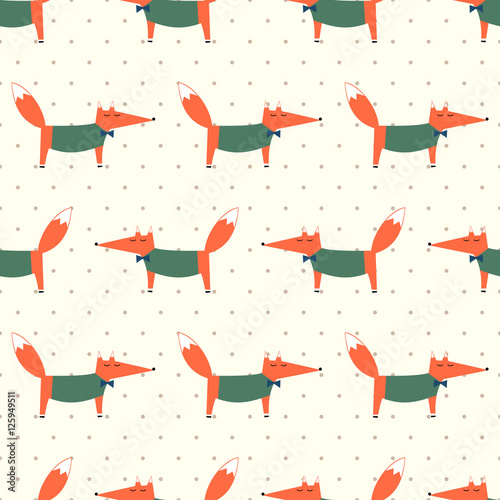 Cotton fabric Cute fox seamless pattern on polka dots background. Cartoon foxy vector illustration. Child drawing style animal background. Fashion design for fabric, textile.