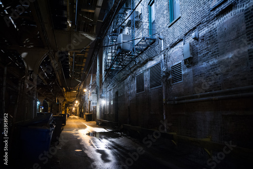 Photo Stands Narrow alley Dark City Alley