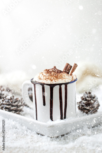 Foto op Canvas Chocolade Homemade christmas hot chocolate with whipped cream, cacao and cinnamon on a plate on christmas holiday background