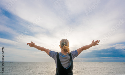 Fotomural soft focus She feels freedom .Customized photo gentle tone