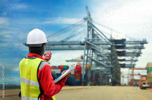 Fotografija  Conceptual image of international logistics, featuring a docker, looking at the