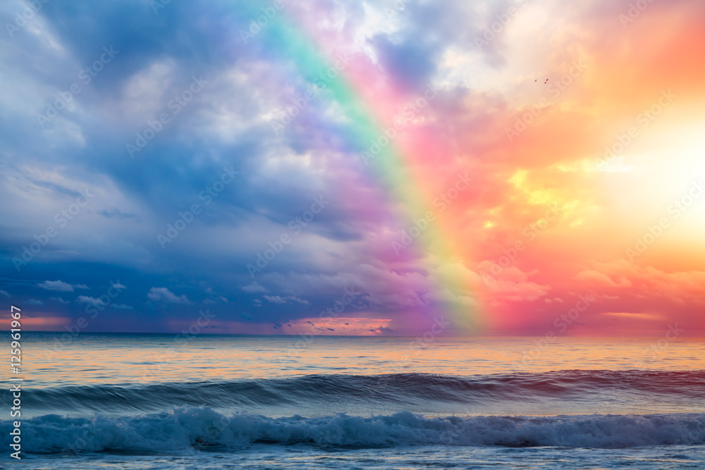 Fototapety, obrazy: Beautiful landscape with turquoise sea, rainbow over the sea at sunset