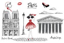 Young Fashion Girl Walking In The Paris