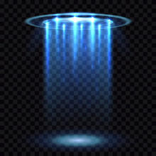 UFO Light Beam, Aliens Futuristic Spacecraft Isolated On Transparent Checkered Background Vector Illustration