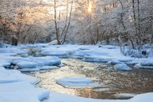 Flowing River In Snowy Woods