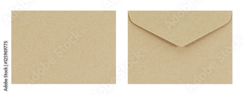 Fotografía Brown envelope front and back isolate on white background, Clipp