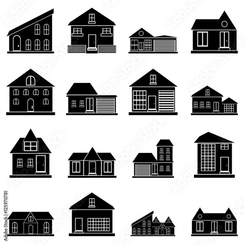 Fototapety, obrazy: Houses icons set. Simple illustration of 16 houses vector icons for web
