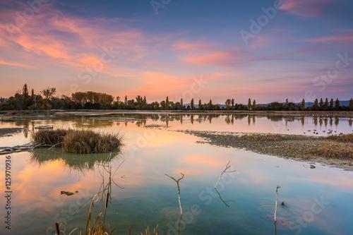Fotografie, Obraz  colorful sundown at swamp