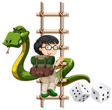 Boy And Snake Climbing Up The Ladder