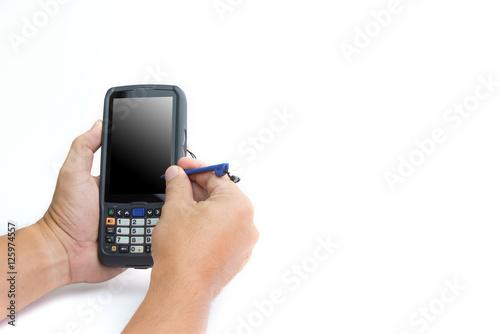Male hands using a hand held barcode scanner Enterprise Digital