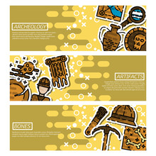 Set Of Horizontal Banners About Archeology