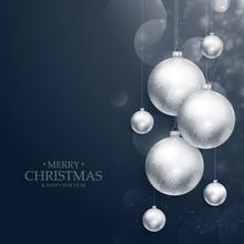 Realistic Hanging Christmas Balls Decoration On Blue Background