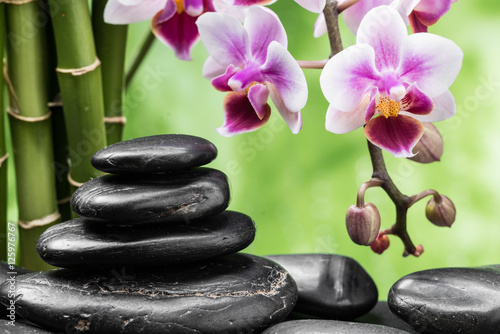 Fototapety, obrazy: spa still life with zen basalt stones ,orchid and bamboo