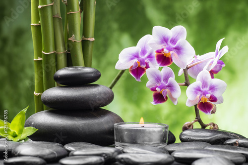 Fototapety, obrazy: spa still life with zen basalt stones ,orchid and bamboo with candle