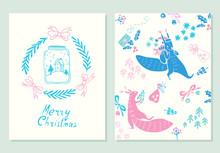 Merry Christmas Lettering. Greeting Cards Set With Christmas Symbols. Hand Drawn Illustration Of Squirrels And Jar With Snow. Doodle Style.
