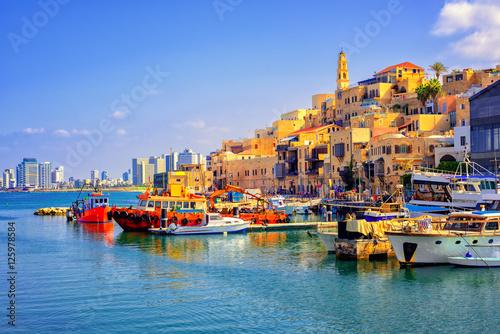 Foto-Kassettenrollo premium - Old town and port of Jaffa, Tel Aviv city, Israel