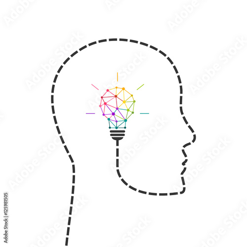 Fotografía  Thinking and problem solving concept with creative and modern style lightbulb