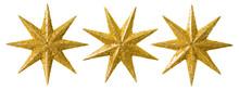 Star Christmas Decoration, Xmas Decorative Set, Glitter Ornament Isolated